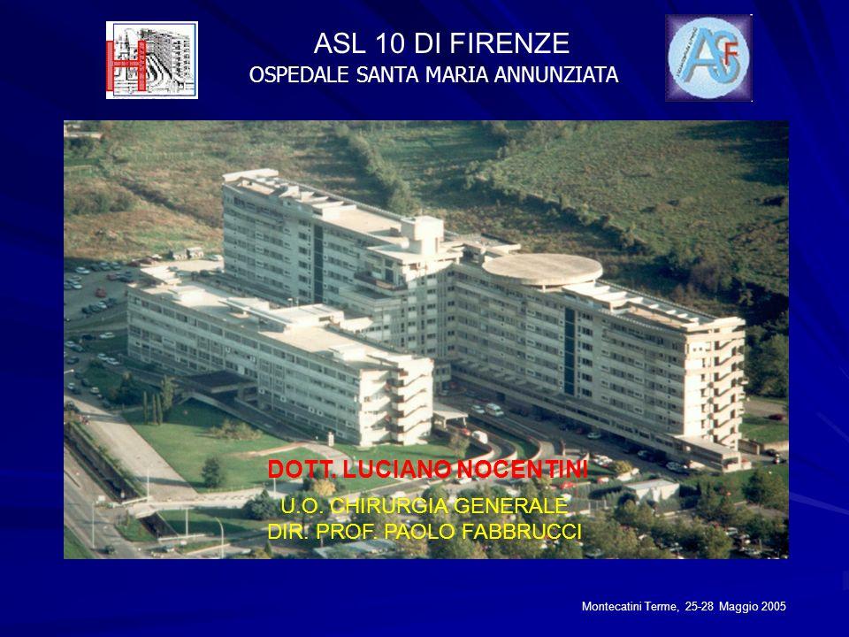 ASL 10 DI FIRENZE OSPEDALE SANTA MARIA ANNUNZIATA DOTT. LUCIANO NOCENTINI U.O. CHIRURGIA GENERALE DIR. PROF. PAOLO FABBRUCCI Montecatini Terme, 25-28