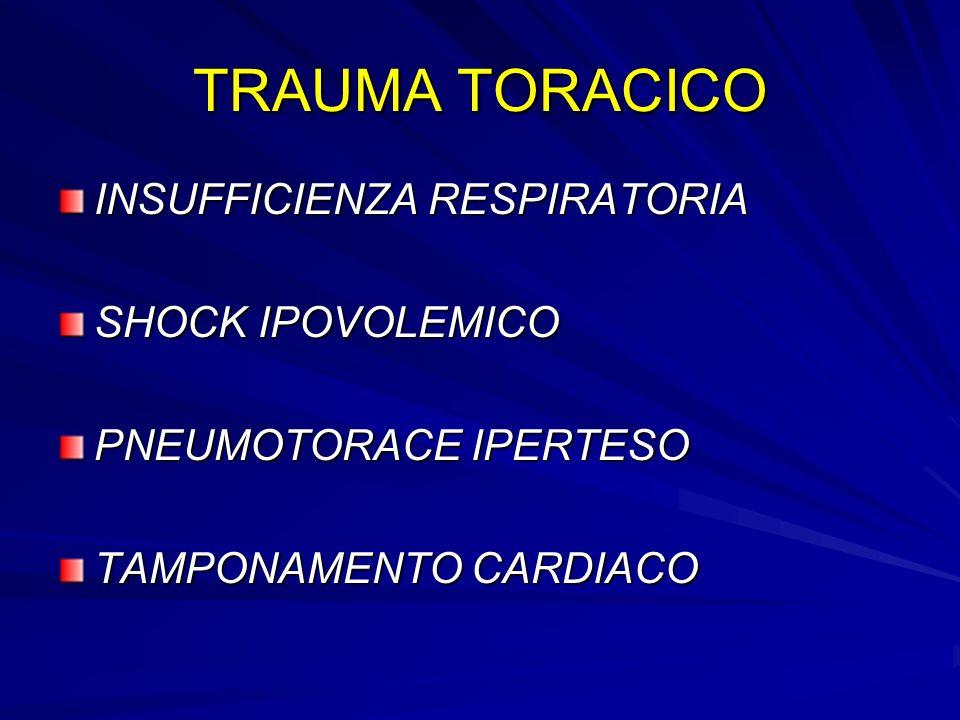 TRAUMA TORACICO INSUFFICIENZA RESPIRATORIA SHOCK IPOVOLEMICO PNEUMOTORACE IPERTESO TAMPONAMENTO CARDIACO