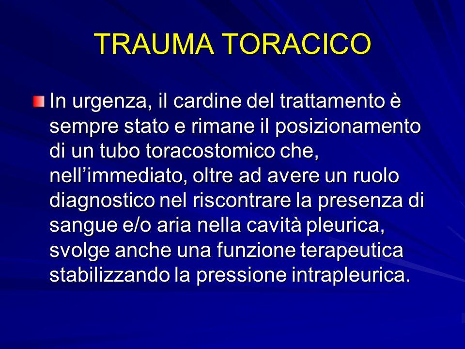 TRAUMA TORACICO In urgenza, il cardine del trattamento è sempre stato e rimane il posizionamento di un tubo toracostomico che, nellimmediato, oltre ad
