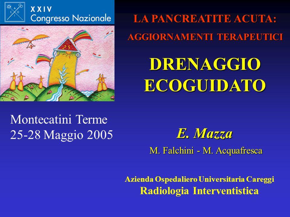 Azienda Ospedaliero Universitaria Careggi Radiologia Interventistica E. Mazza M. Falchini - M. Acquafresca M. Falchini - M. Acquafresca LA PANCREATITE