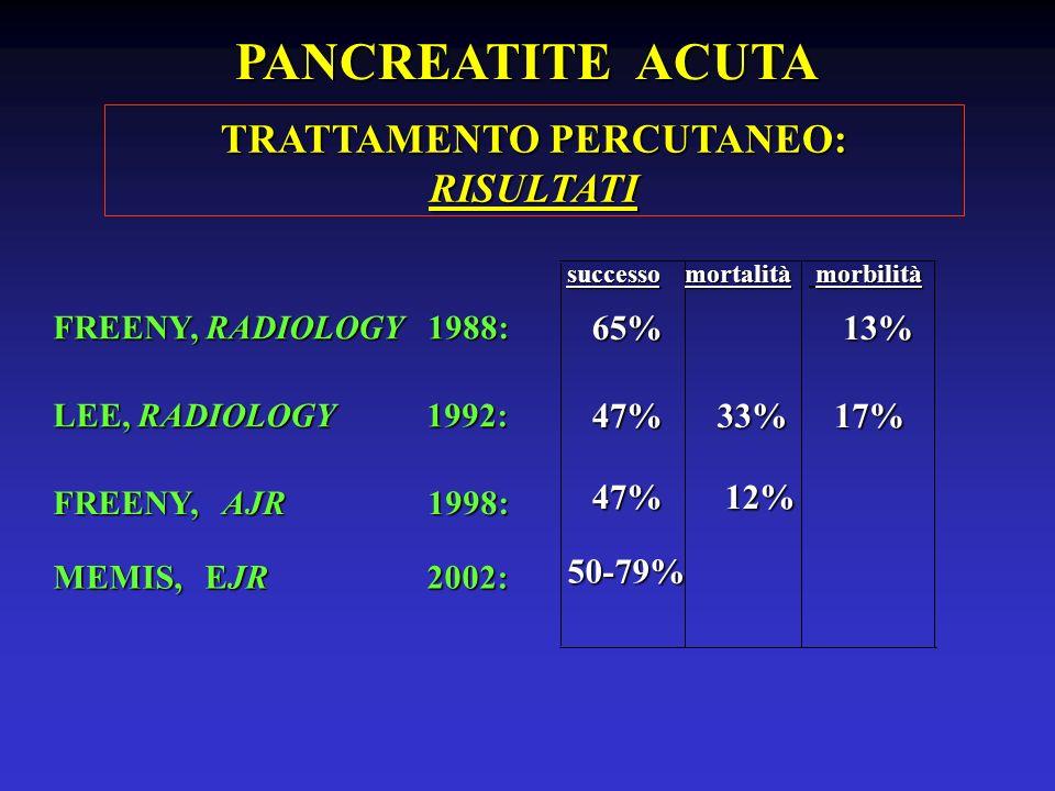 FREENY, RADIOLOGY 1988: LEE, RADIOLOGY 1992: FREENY, AJR 1998: successo morbilità 65% 13% 47%17%33% 47%12% mortalità TRATTAMENTO PERCUTANEO: RISULTATI