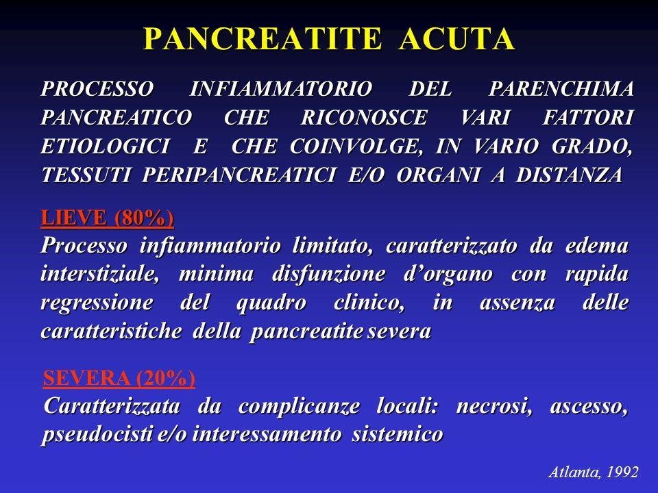 PANCREATITE ACUTA PROCESSO INFIAMMATORIO DEL PARENCHIMA PANCREATICO CHE RICONOSCE VARI FATTORI ETIOLOGICI E CHE COINVOLGE, IN VARIO GRADO, TESSUTI PER