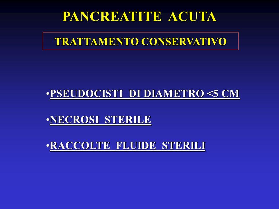 PSEUDOCISTI DI DIAMETRO <5 CMPSEUDOCISTI DI DIAMETRO <5 CM NECROSI STERILENECROSI STERILE RACCOLTE FLUIDE STERILIRACCOLTE FLUIDE STERILI PANCREATITE A