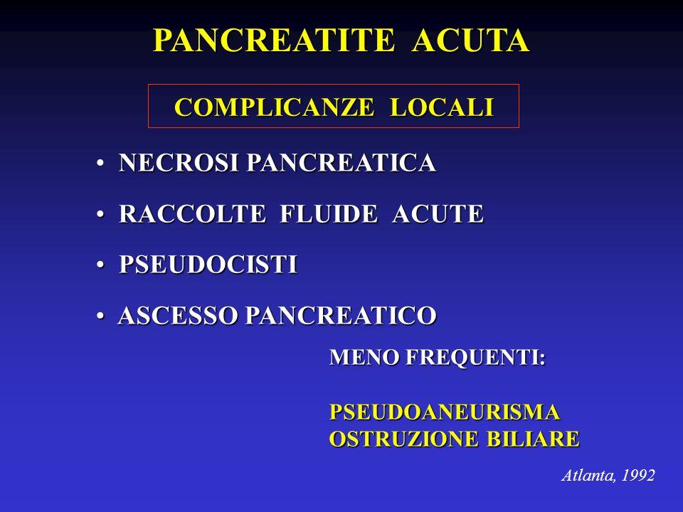NECROSI PANCREATICA RACCOLTE FLUIDE ACUTE RACCOLTE FLUIDE ACUTE PSEUDOCISTI PSEUDOCISTI ASCESSO PANCREATICO ASCESSO PANCREATICO Atlanta, 1992 PANCREAT