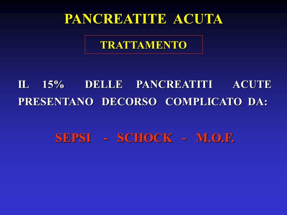 IL 15% DELLE PANCREATITI ACUTE PRESENTANO DECORSO COMPLICATO DA: SEPSI - SCHOCK - M.O.F. TRATTAMENTO PANCREATITE ACUTA