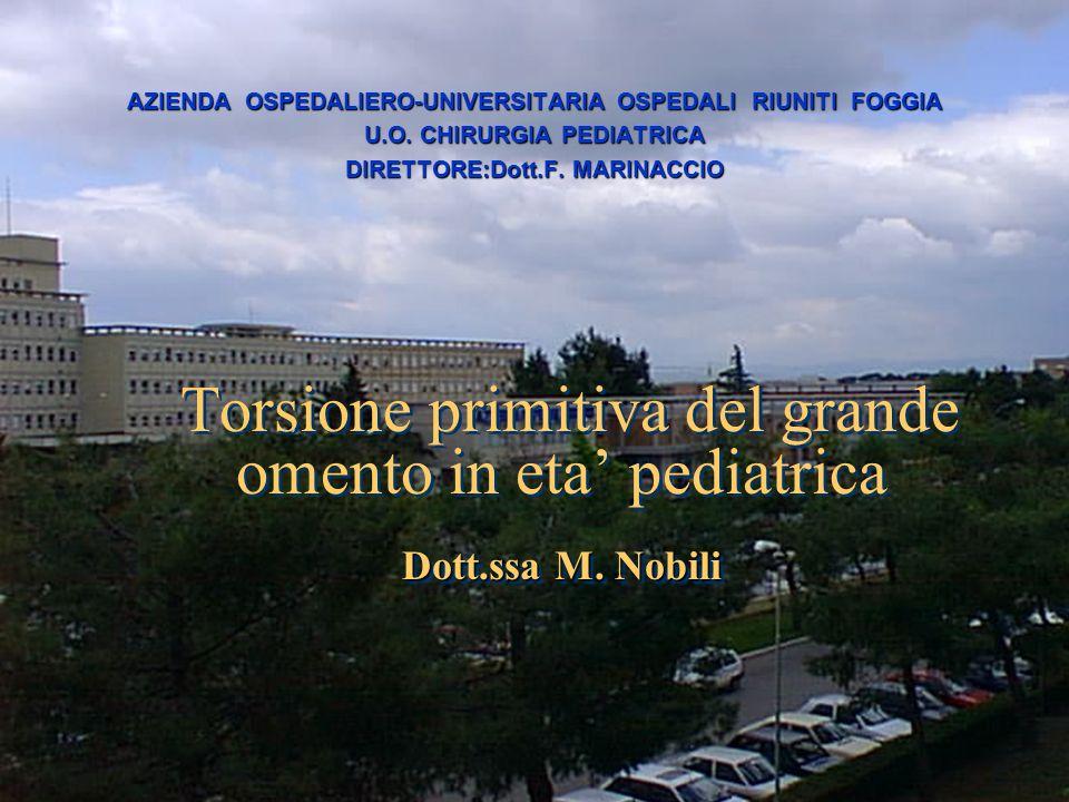 Dott.ssa M. Nobili Torsione primitiva del grande omento in eta pediatrica Dott.ssa M. Nobili AZIENDA OSPEDALIERO-UNIVERSITARIA OSPEDALI RIUNITI FOGGIA