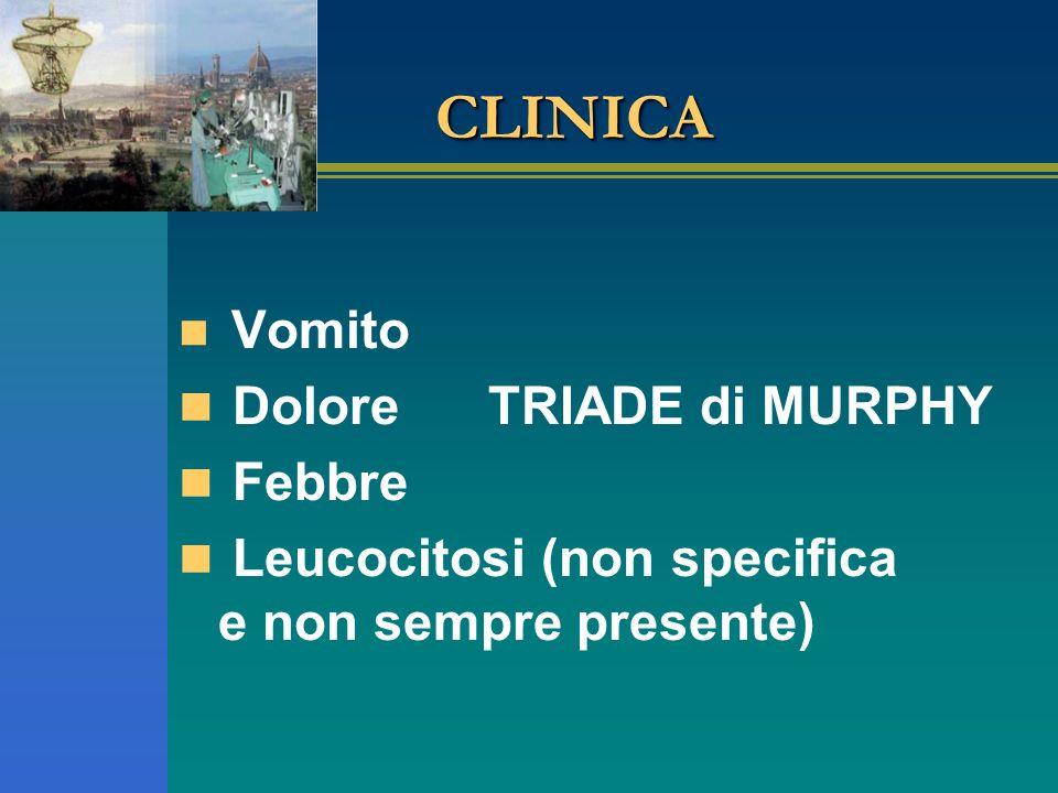 CLINICA Vomito Dolore TRIADE di MURPHY Febbre Leucocitosi (non specifica e non sempre presente)