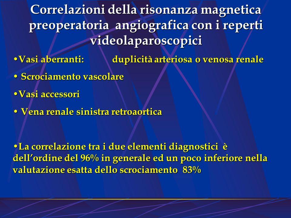 Correlazioni della risonanza magnetica preoperatoria angiografica con i reperti videolaparoscopici Vasi aberranti: duplicità arteriosa o venosa renale