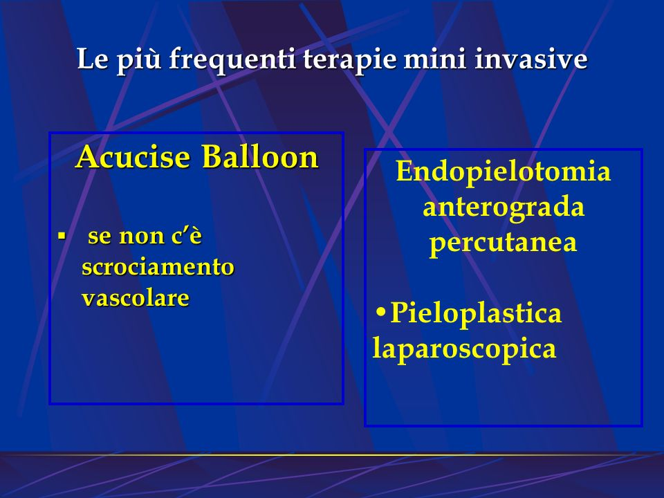 Le più frequenti terapie mini invasive Acucise Balloon se non cè scrociamento vascolare se non cè scrociamento vascolare Endopielotomia anterograda pe