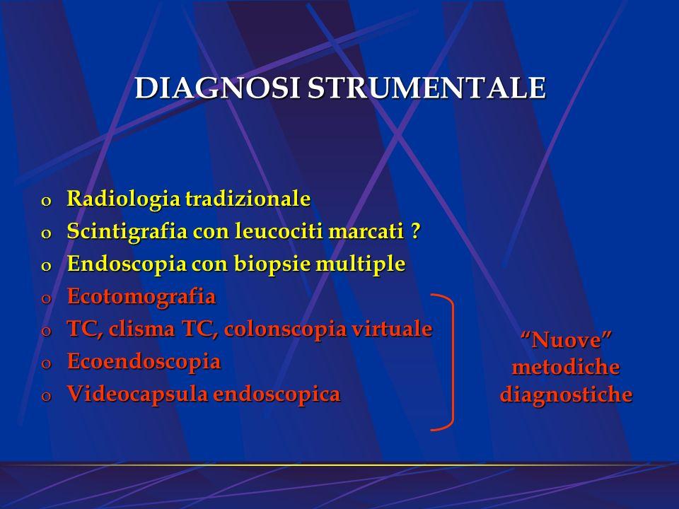 DIAGNOSI STRUMENTALE o Radiologia tradizionale o Scintigrafia con leucociti marcati ? o Endoscopia con biopsie multiple o Ecotomografia o TC, clisma T