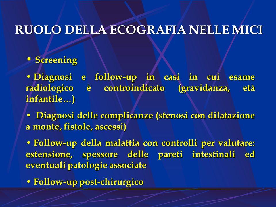 RUOLO DELLA ECOGRAFIA NELLE MICI Screening Screening Diagnosi e follow-up in casi in cui esame radiologico è controindicato (gravidanza, età infantile
