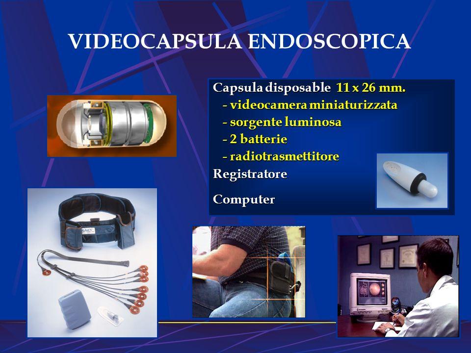 VIDEOCAPSULA ENDOSCOPICA Capsula disposable 11 x 26 mm. - videocamera miniaturizzata - videocamera miniaturizzata - sorgente luminosa - sorgente lumin