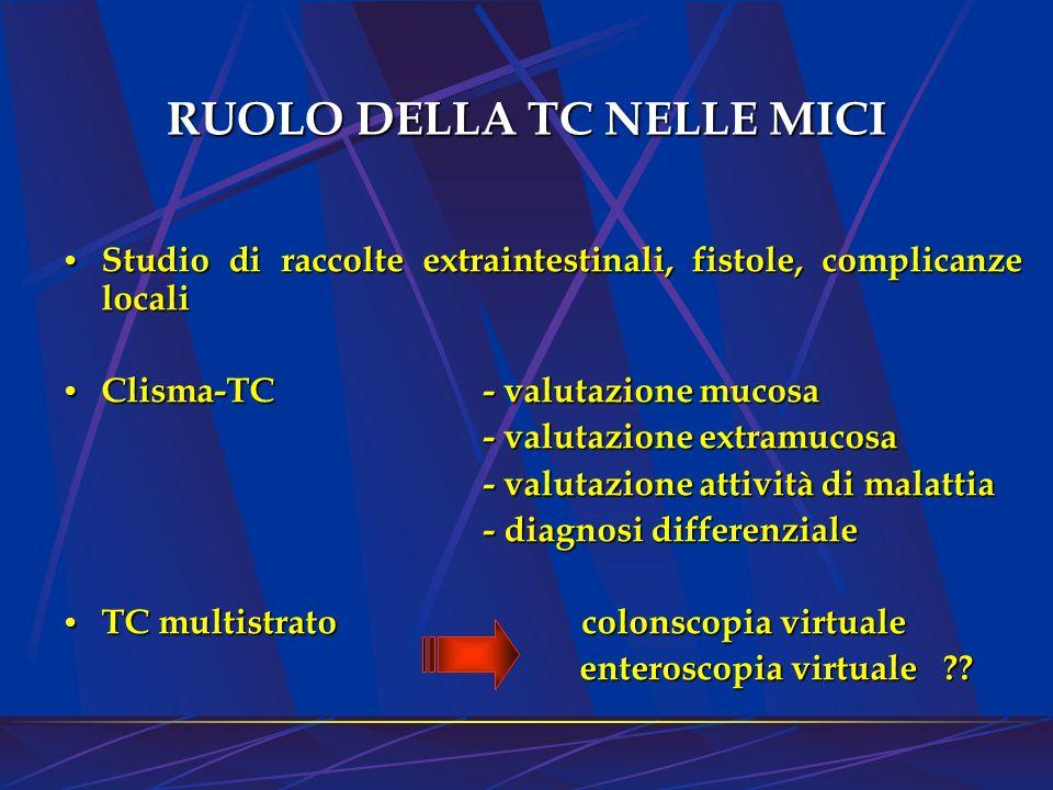 RUOLO DELLA TC NELLE MICI Studio di raccolte extraintestinali, fistole, complicanze locali Studio di raccolte extraintestinali, fistole, complicanze l