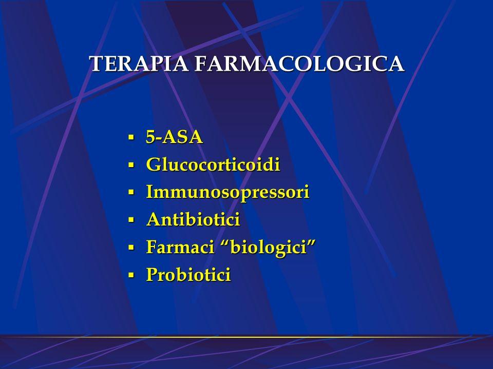 TERAPIA FARMACOLOGICA 5-ASA 5-ASA Glucocorticoidi Glucocorticoidi Immunosopressori Immunosopressori Antibiotici Antibiotici Farmaci biologici Farmaci