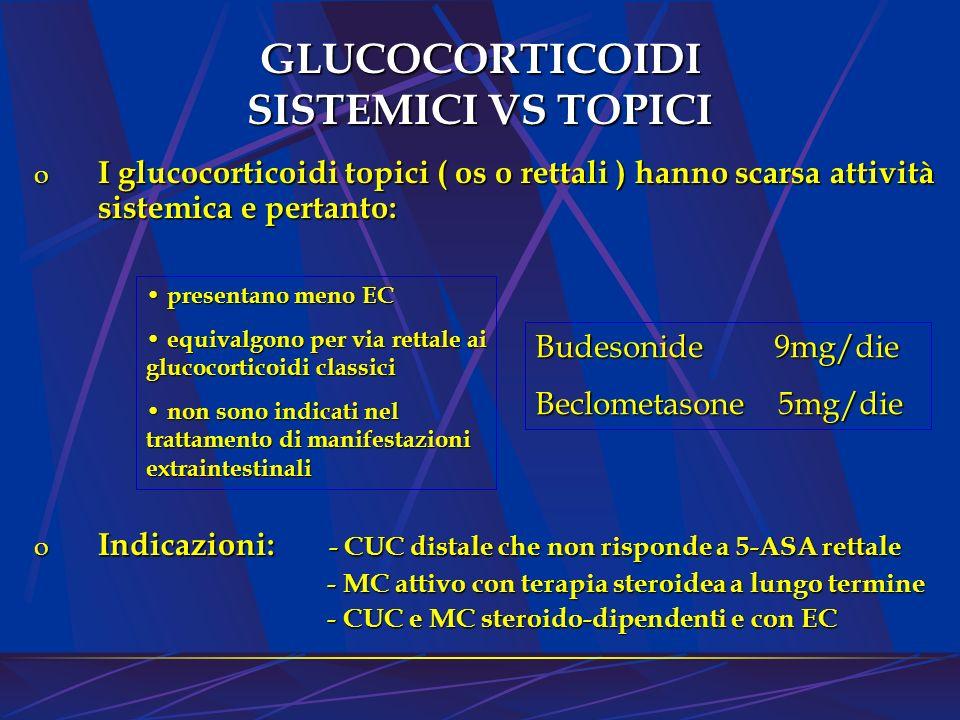 GLUCOCORTICOIDI SISTEMICI VS TOPICI o I glucocorticoidi topici ( os o rettali ) hanno scarsa attività sistemica e pertanto: o Indicazioni: - CUC dista