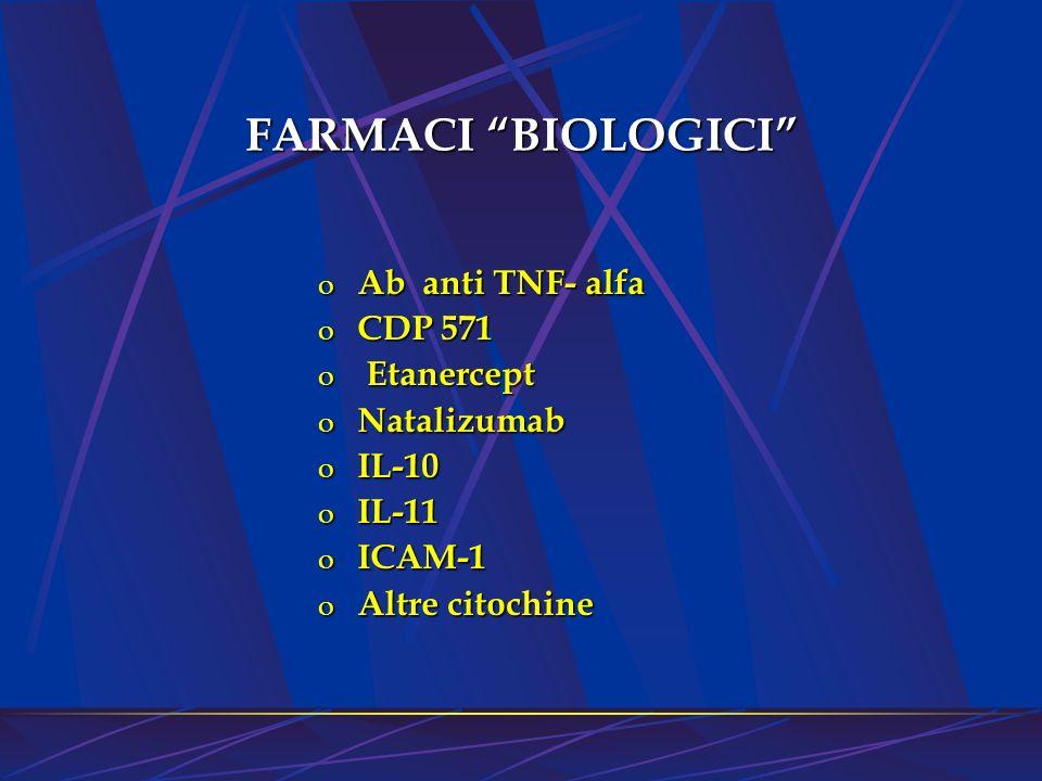 o Ab anti TNF- alfa o CDP 571 o Etanercept o Natalizumab o IL-10 o IL-11 o ICAM-1 o Altre citochine FARMACI BIOLOGICI