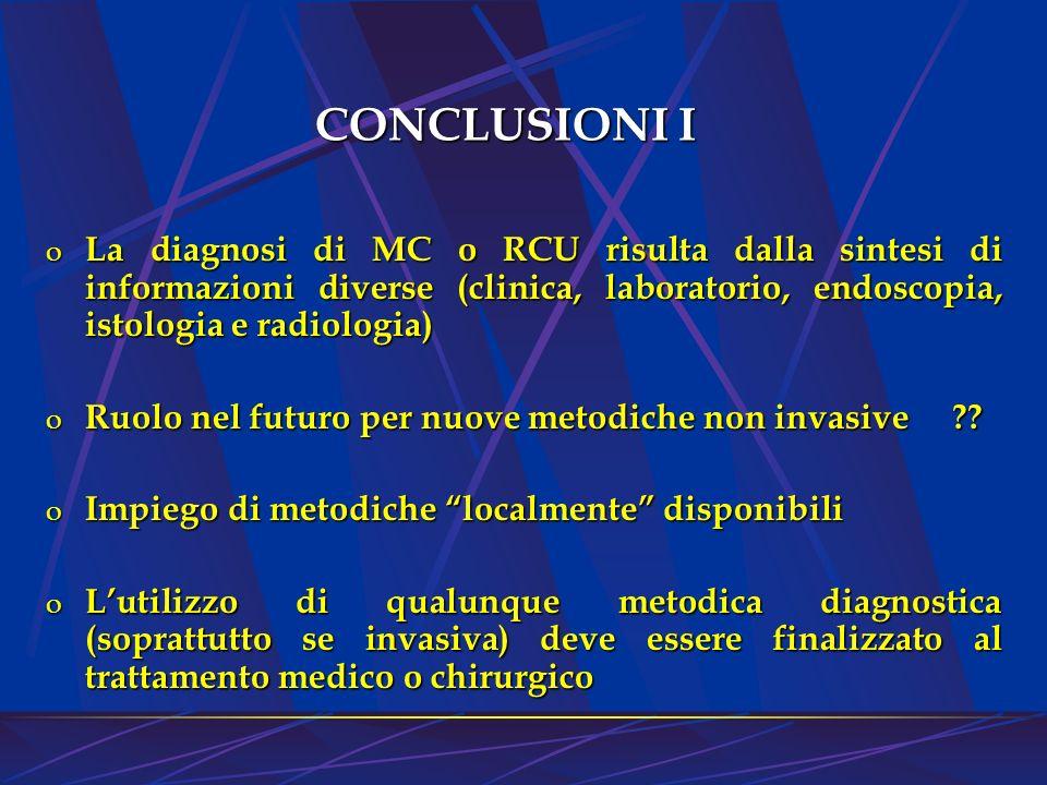 CONCLUSIONI I o La diagnosi di MC o RCU risulta dalla sintesi di informazioni diverse (clinica, laboratorio, endoscopia, istologia e radiologia) o Ruo