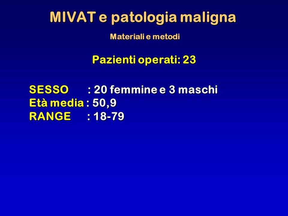 MIVAT e patologia maligna Materiali e metodi Pazienti operati: 23 SESSO : 20 femmine e 3 maschi Età media : 50,9 RANGE : 18-79