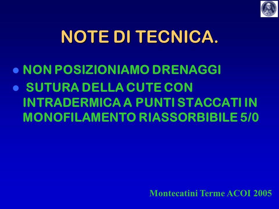 NOTE DI TECNICA. NON POSIZIONIAMO DRENAGGI SUTURA DELLA CUTE CON INTRADERMICA A PUNTI STACCATI IN MONOFILAMENTO RIASSORBIBILE 5/0 Montecatini Terme AC