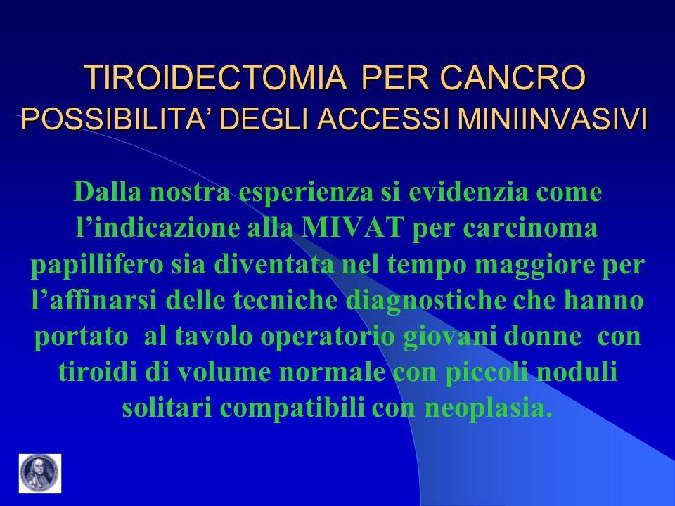TIROIDECTOMIA PER CANCRO POSSIBILITA DEGLI ACCESSI MINIINVASIVI Dalla nostra esperienza si evidenzia come lindicazione alla MIVAT per carcinoma papill