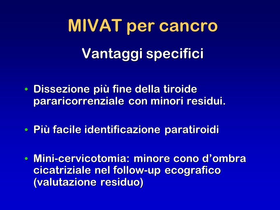 MIVAT per cancro Vantaggi specifici Dissezione più fine della tiroide pararicorrenziale con minori residui. Dissezione più fine della tiroide pararico