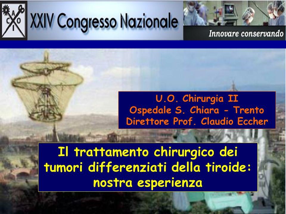 U.O. Chirurgia II Ospedale S. Chiara - Trento Direttore Prof. Claudio Eccher Il trattamento chirurgico dei tumori differenziati della tiroide: nostra