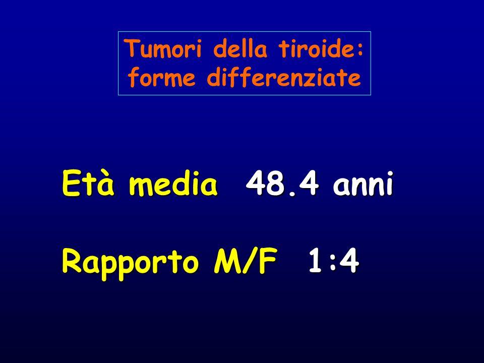 Età media 48.4 anni Rapporto M/F 1:4 Tumori della tiroide: forme differenziate
