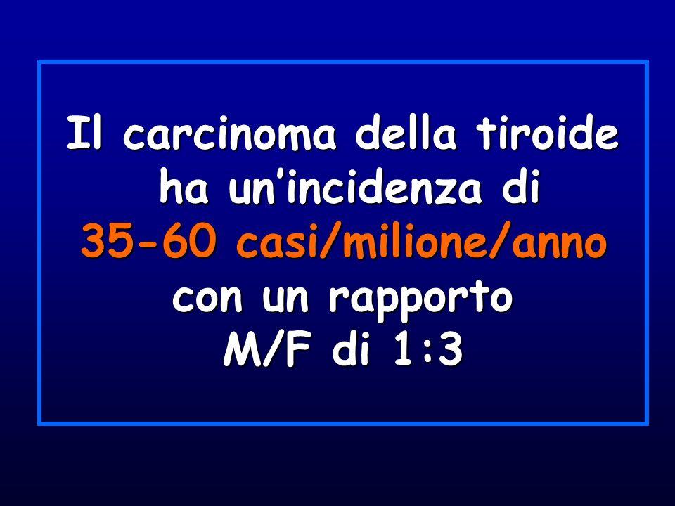 Il carcinoma della tiroide ha unincidenza di 35-60 casi/milione/anno con un rapporto M/F di 1:3