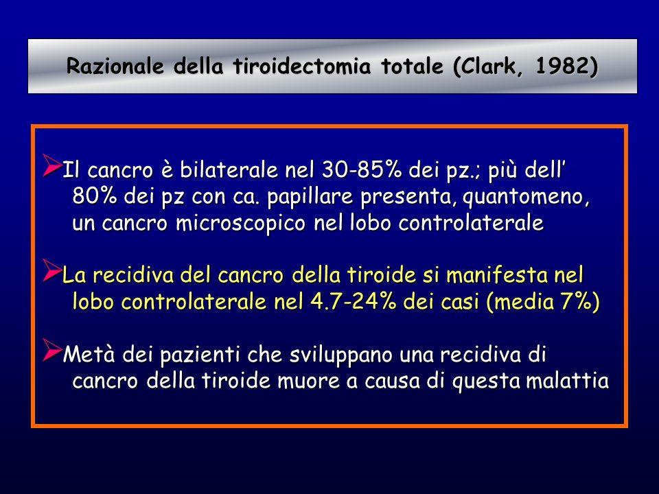 Il cancro è bilaterale nel 30-85% dei pz.; più dell Il cancro è bilaterale nel 30-85% dei pz.; più dell 80% dei pz con ca. papillare presenta, quantom