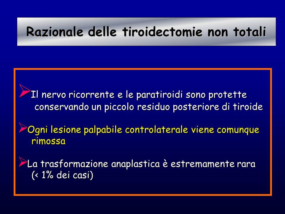 Razionale delle tiroidectomie non totali Razionale delle tiroidectomie non totali Il nervo ricorrente e le paratiroidi sono protette Il nervo ricorren