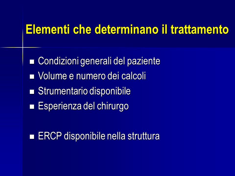 Elementi che determinano il trattamento Condizioni generali del paziente Condizioni generali del paziente Volume e numero dei calcoli Volume e numero