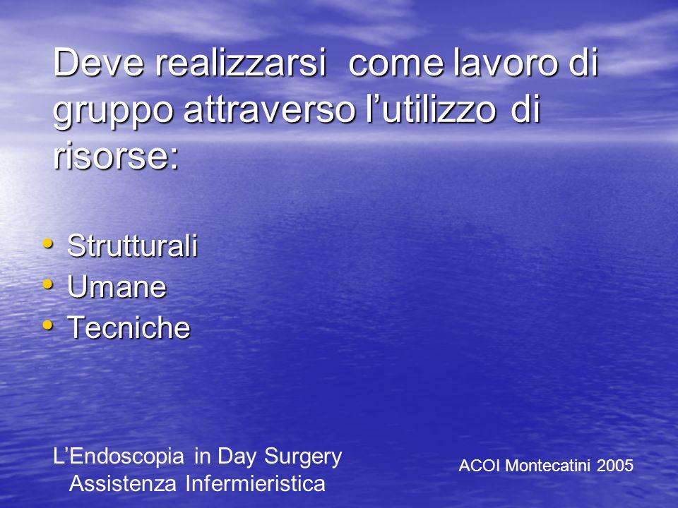LAssistenza a procedure endoscopiche operative deve puntare a : Ottimizzare le risorse Ottimizzare le risorse Standardizzare i processi Standardizzare