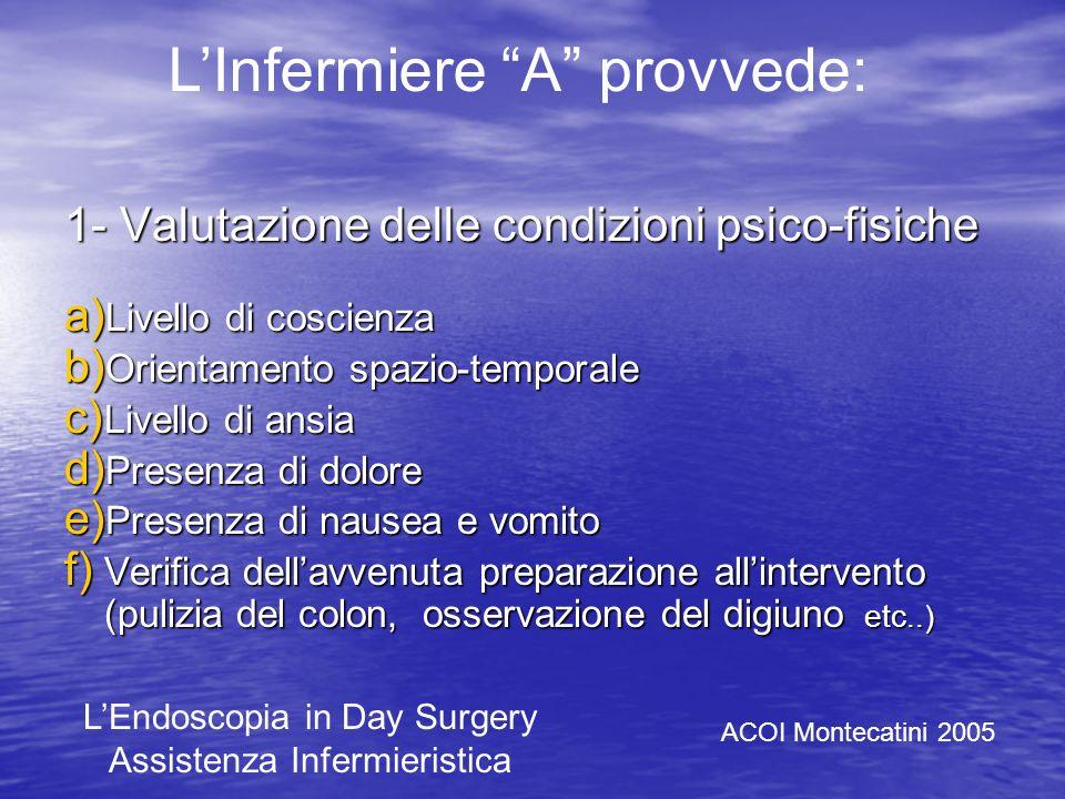 Per la distinzione dei compiti durante la procedura endoscopica possiamo individuare in A lInfermiere addetto allassistenza diretta al paziente, e in