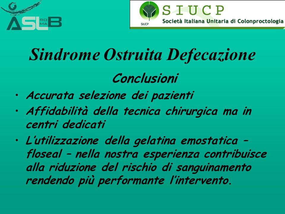Sindrome Ostruita Defecazione Conclusioni Accurata selezione dei pazienti Affidabilità della tecnica chirurgica ma in centri dedicati Lutilizzazione d