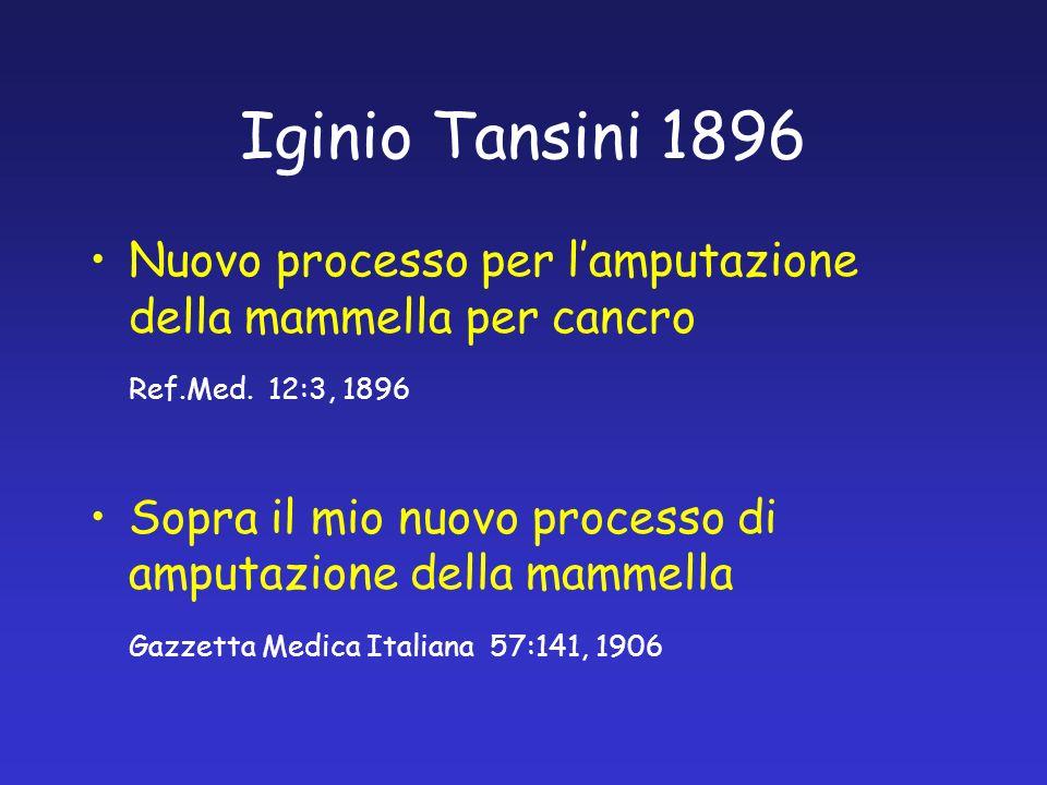 Iginio Tansini 1896 Nuovo processo per lamputazione della mammella per cancro Ref.Med. 12:3, 1896 Sopra il mio nuovo processo di amputazione della mam