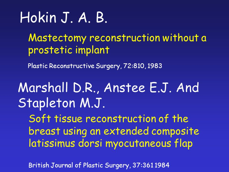 Hokin J. A. B. Mastectomy reconstruction without a prostetic implant Plastic Reconstructive Surgery, 72:810, 1983 Marshall D.R., Anstee E.J. And Stapl