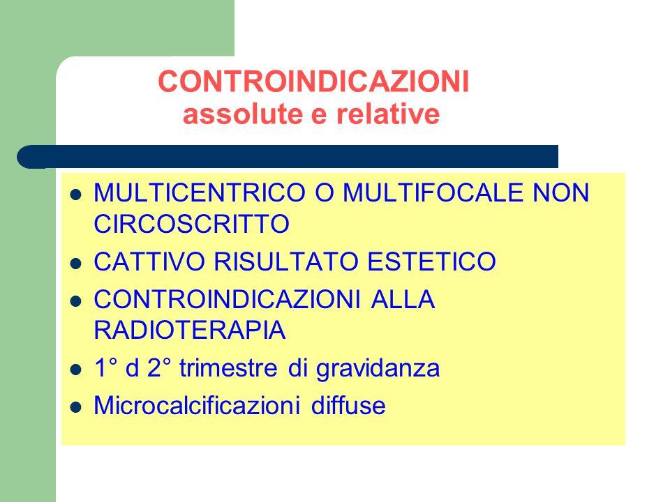 CONTROINDICAZIONI assolute e relative MULTICENTRICO O MULTIFOCALE NON CIRCOSCRITTO CATTIVO RISULTATO ESTETICO CONTROINDICAZIONI ALLA RADIOTERAPIA 1° d 2° trimestre di gravidanza Microcalcificazioni diffuse