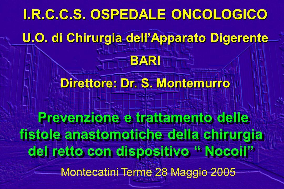 I.R.C.C.S. OSPEDALE ONCOLOGICO U.O. di Chirurgia dellApparato Digerente BARI Direttore: Dr. S. Montemurro I.R.C.C.S. OSPEDALE ONCOLOGICO U.O. di Chiru