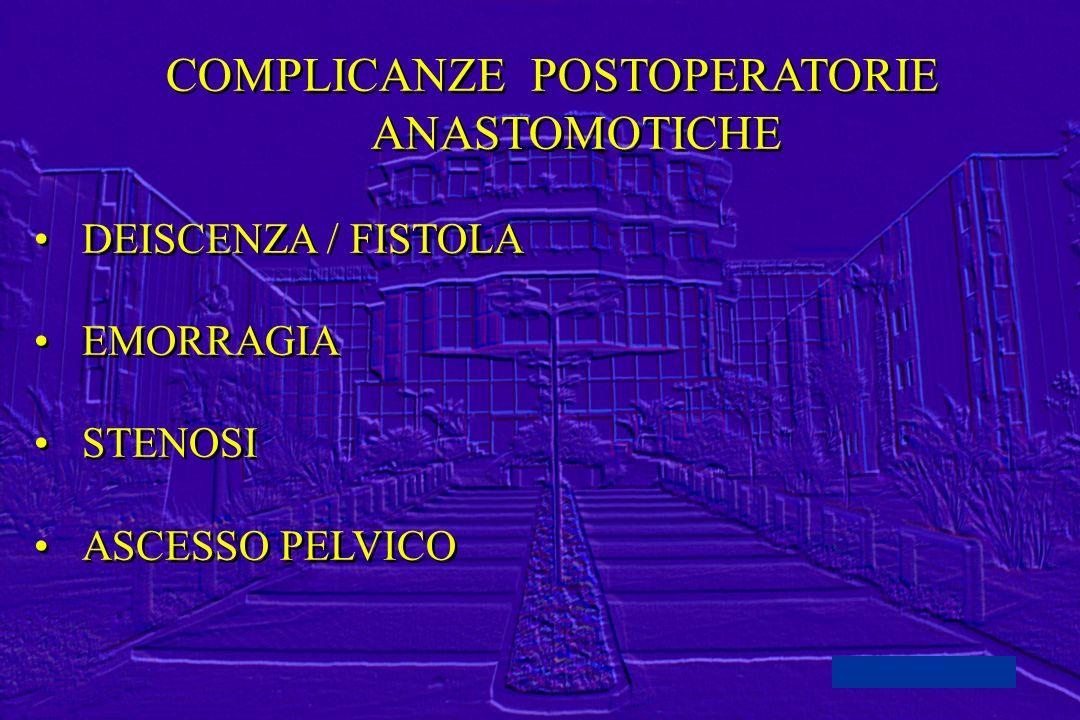 COMPLICANZE POSTOPERATORIE ANASTOMOTICHE DEISCENZA / FISTOLA EMORRAGIA STENOSI ASCESSO PELVICO COMPLICANZE POSTOPERATORIE ANASTOMOTICHE DEISCENZA / FI