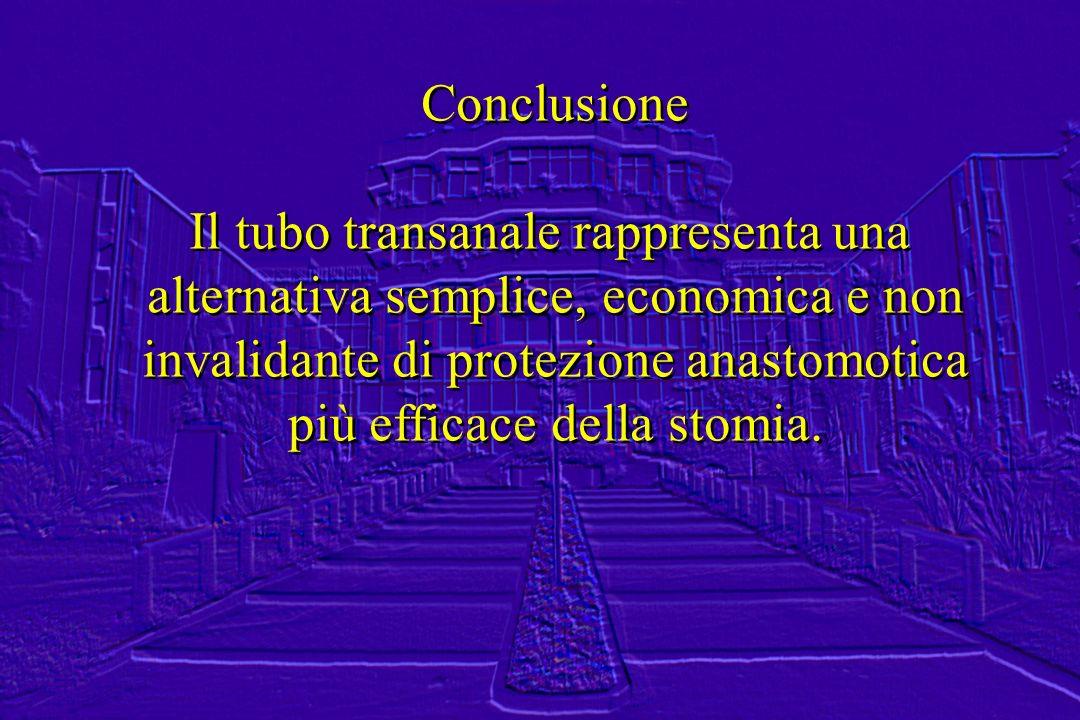 Conclusione Il tubo transanale rappresenta una alternativa semplice, economica e non invalidante di protezione anastomotica più efficace della stomia.