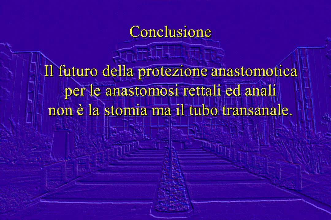 Conclusione Il futuro della protezione anastomotica per le anastomosi rettali ed anali non è la stomia ma il tubo transanale. Conclusione Il futuro de