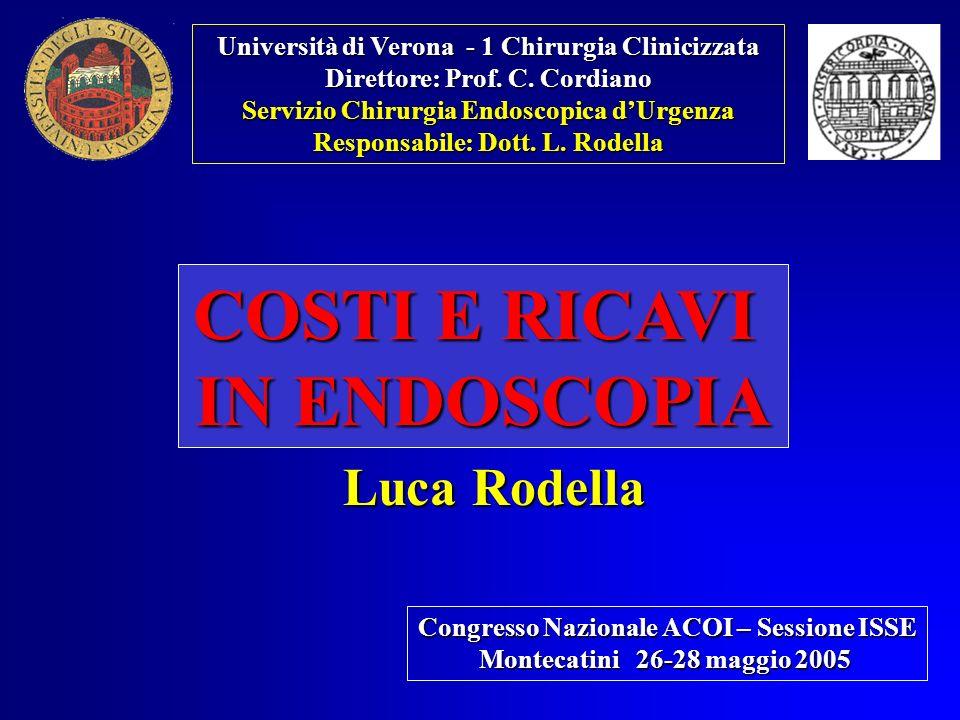Università di Verona - 1 Chirurgia Clinicizzata Direttore: Prof. C. Cordiano Servizio Chirurgia Endoscopica dUrgenza Responsabile: Dott. L. Rodella CO