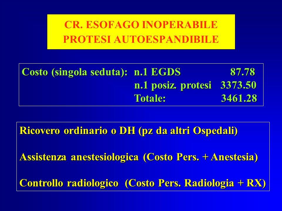 CR. ESOFAGO INOPERABILE PROTESI AUTOESPANDIBILE Costo (singola seduta): n.1 EGDS 87.78 n.1 posiz. protesi 3373.50 n.1 posiz. protesi 3373.50 Totale: 3