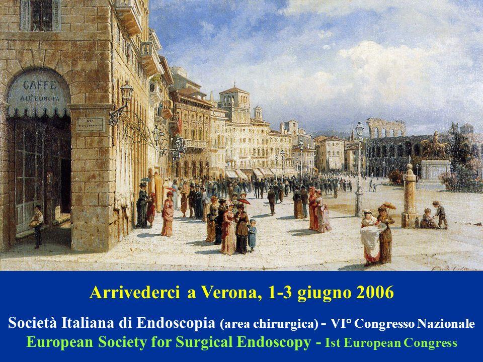 Arrivederci a Verona, 1-3 giugno 2006 Società Italiana di Endoscopia (area chirurgica) - VI° Congresso Nazionale European Society for Surgical Endosco