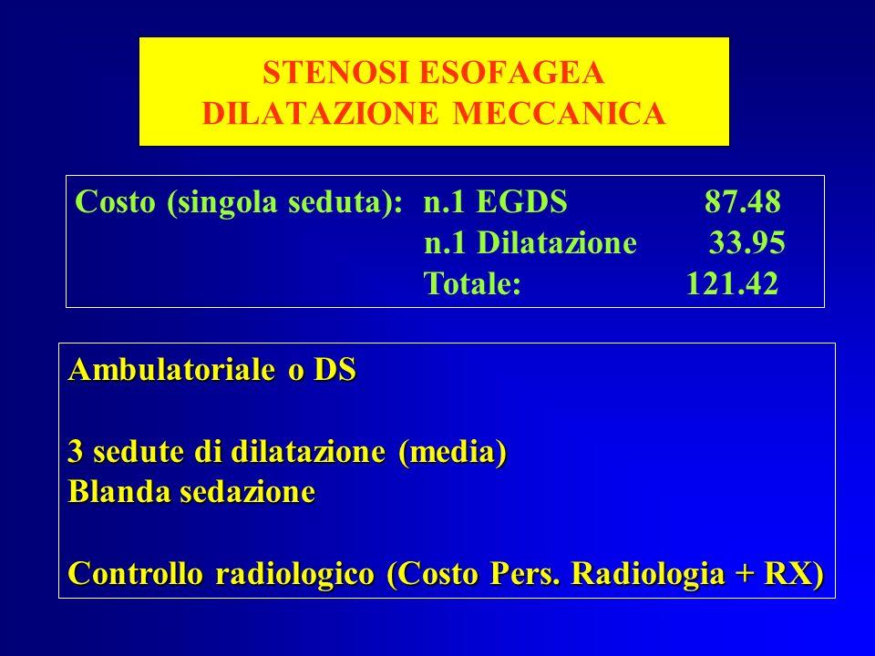 STENOSI ESOFAGEA DILATAZIONE MECCANICA Costo (singola seduta): n.1 EGDS 87.48 n.1 Dilatazione 33.95 Totale: 121.42 Ambulatoriale o DS 3 sedute di dila