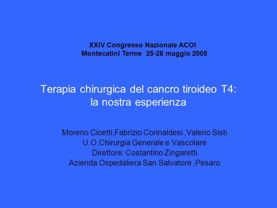 Terapia chirurgica del cancro tiroideo T4: la nostra esperienza Moreno Cicetti,Fabrizio Corinaldesi,Valerio Sisti U.O.Chirurgia Generale e Vascolare D