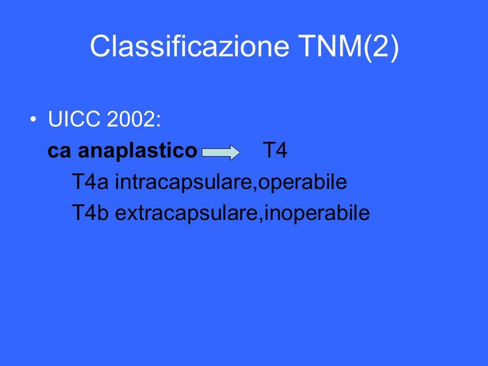 Classificazione TNM(2) UICC 2002: ca anaplastico T4 T4a intracapsulare,operabile T4b extracapsulare,inoperabile