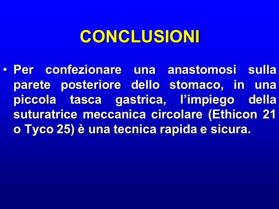 CONCLUSIONI Per confezionare una anastomosi sulla parete posteriore dello stomaco, in una piccola tasca gastrica, limpiego della suturatrice meccanica