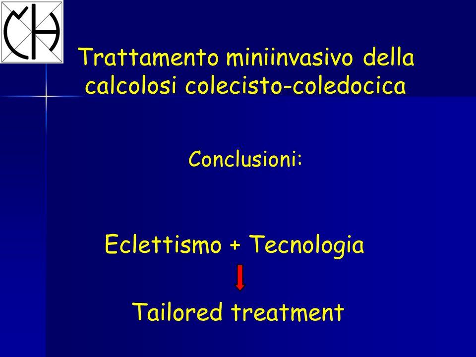 Trattamento miniinvasivo della calcolosi colecisto-coledocica Conclusioni: Eclettismo + Tecnologia Tailored treatment