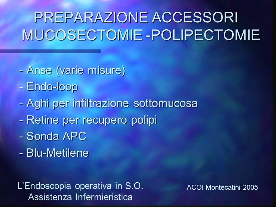 PREPARAZIONE ACCESSORI MUCOSECTOMIE -POLIPECTOMIE - Anse (varie misure) - Anse (varie misure) - Endo-loop - Endo-loop - Aghi per infiltrazione sottomu
